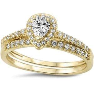 Yellow Gold Plated Pear CZ Bridal 2pc Set sz 6 7